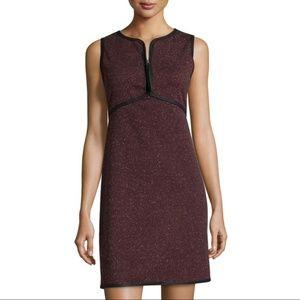Max Studio Maroon Speckled Knit Zip Sheath Dress S